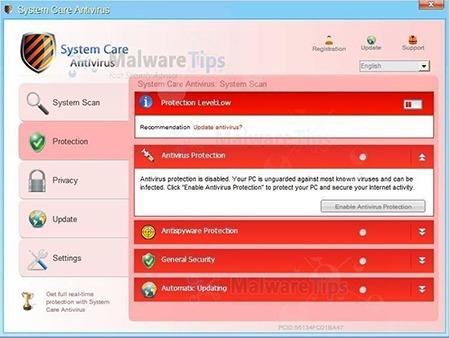 """حذف ویروس """"System Care Antivirus"""" (راهنمای حذف و پاکسازی)"""