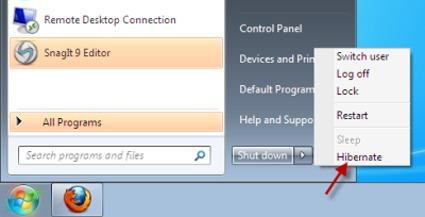 نحوه فعال کردن دکمه هایبرنیت Hibernate در ویندوز 7