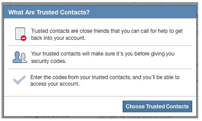 اموزش امکان امنیتی  فیسبوک به نام Trusted Contacts